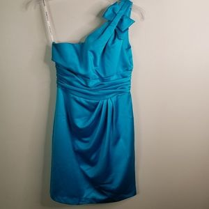 David's bridal aqua one shoulder bridesmaid size 6